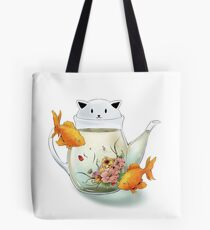 Flowering Tea in a Cat Teapot and Goldfish Tote Bag
