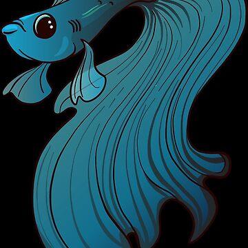 Grumpee Gills - Blue and Black Betta Fish Grumpy Cute Adorable Aquarium  by Inklingsofgrace
