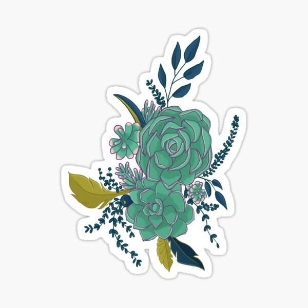 Dark Succulent Bouquet Sticker
