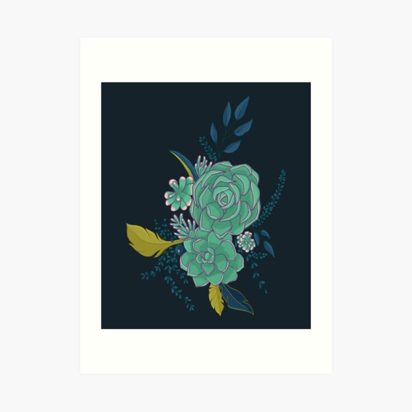 Dark Succulent Bouquet Art Print