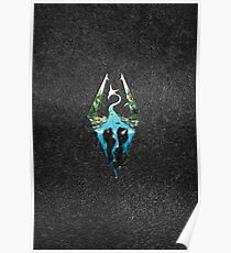 Skyrim Logo - Forest Scene Embossed in Granite Poster