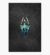 Skyrim Logo - Forest Scene Embossed in Granite Photographic Print