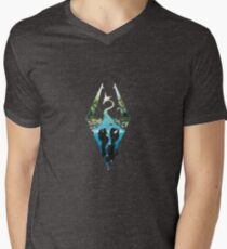 Skyrim Logo - Forest Scene Embossed in Granite Men's V-Neck T-Shirt