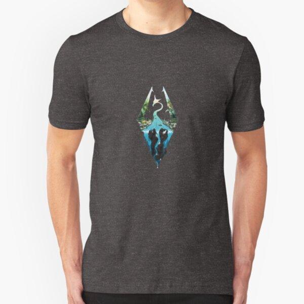 Skyrim Logo - Forest Scene Embossed in Granite Slim Fit T-Shirt