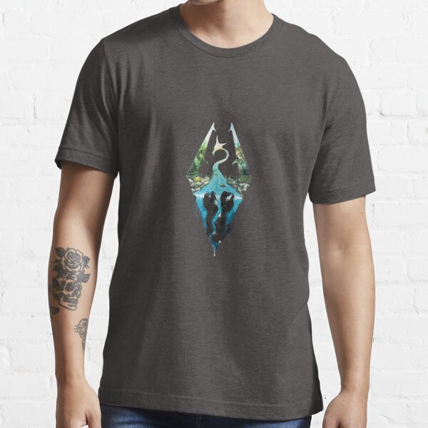 Skyrim Logo - Forest Scene Embossed in Granite Essential T-Shirt