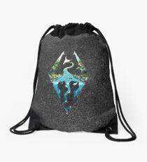 Skyrim Logo - Forest Scene Embossed in Granite Drawstring Bag