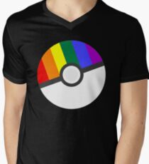 Pokemon 'Prideball' LGBT Pokeball Shirt/Hoodie/etc Men's V-Neck T-Shirt