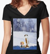 Calvin and Hobbes Winter Christmas Women's Fitted V-Neck T-Shirt