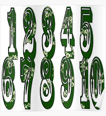 Green canal flowers numbers  Poster