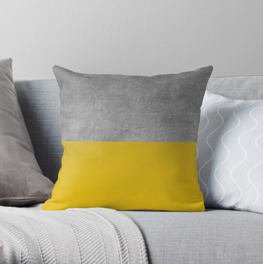 Concrete and Mustard Color Block  Throw Pillow