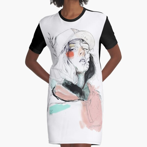 COLLABORATION ELENA GARNU / JAVI CODINA Graphic T-Shirt Dress