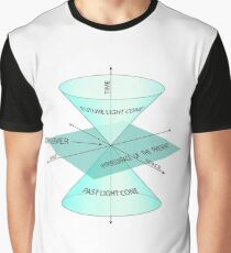 Time, observer, space, future light cone, past light cone, hypersurface of the present, future, light cone, past, light, cone, hypersurface, present Graphic T-Shirt