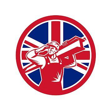 British Construction Worker Union Jack Flag Icon by patrimonio