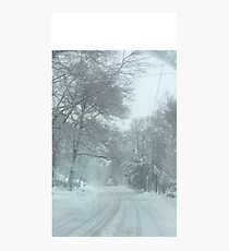 Snowy road on a snowy day Photographic Print