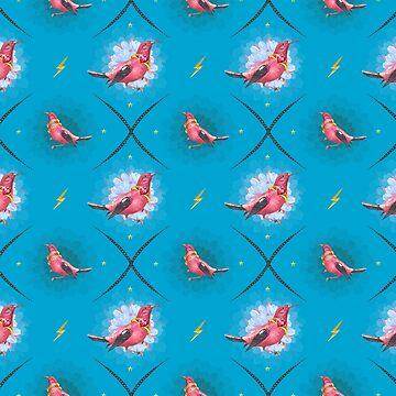 Wallpaper pattern design Bling Birds 14 Edouard Artus by EdouardArtus