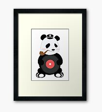 Cute Panda Smoking with his Disc Framed Print