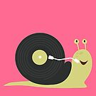 Cute Snail with his record Disc House by thewishdesigns