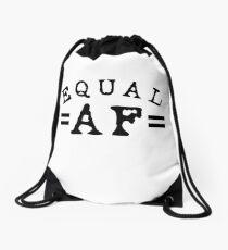 EQUAL AF black Drawstring Bag