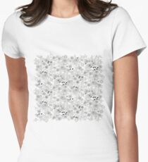 Vera large, floral art graphic pattern in grey by Villa Hed Women's Fitted T-Shirt