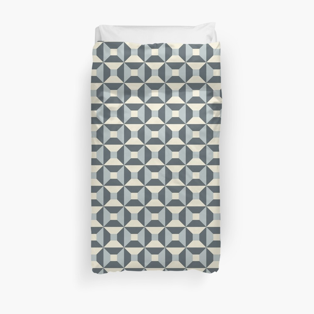 Geometric Pattern: Square Check: Steel Duvet Cover