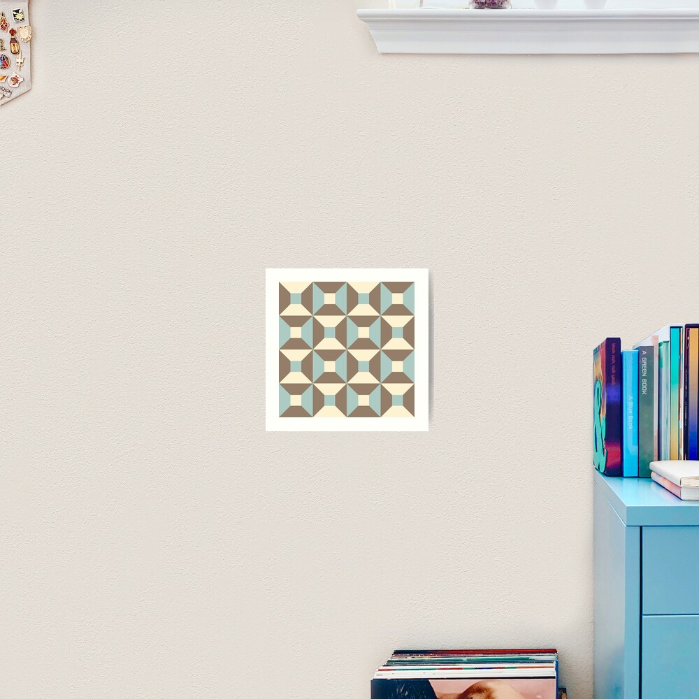 Geometric Pattern: Square Check: Brown Art Print
