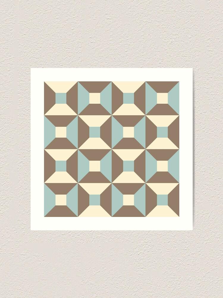 Alternate view of Geometric Pattern: Square Check: Brown Art Print