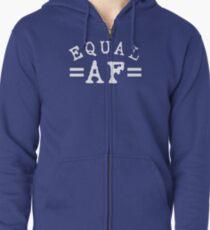 EQUAL AF white Zipped Hoodie