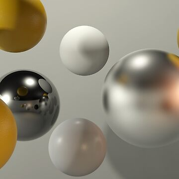 3d abstract spheres with reflective surface. Render. by yelenayefimova