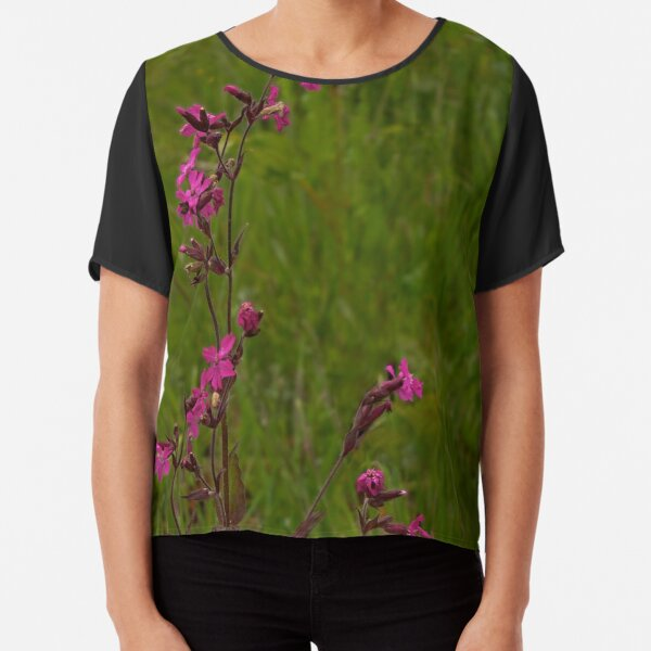 Red Campion in Burntollet Woods Chiffon Top