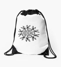 Natural black motive Drawstring Bag