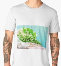lily of the valley on a shabby chic board Men's Premium T-Shirt