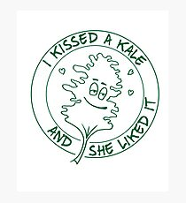 I Kissed A Kale And She Liked It - Funny Raw Food Photographic Print