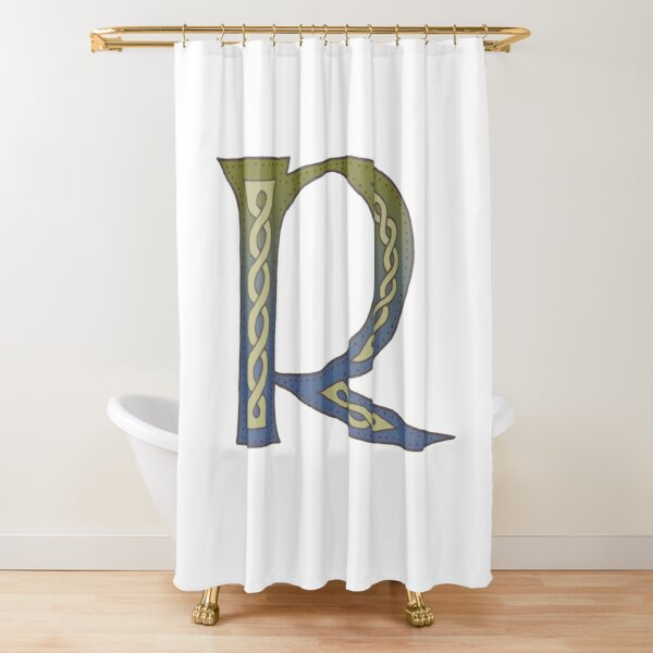 Celtic Knotwork Alphabet - Letter R Shower Curtain