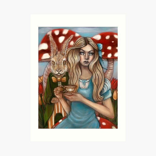 Alice and the March Hare Art Print