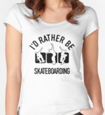 Precious Skateboarder Skateboarding T-Shirt - Cool Funny Nerdy Humor Statement Graphic Skateboarding Quote Tee Shirt Gift Women's Fitted Scoop T-Shirt