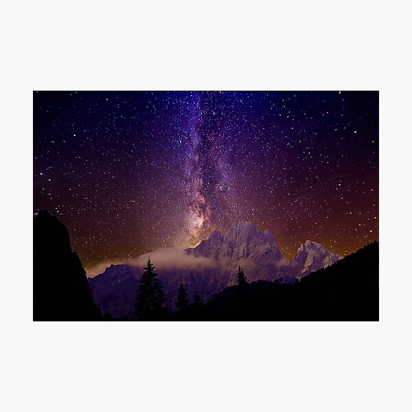 Milky Way over the alps Photographic Print