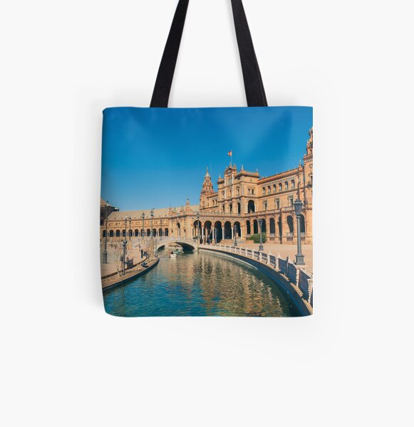 View of Beautiful Plaza de Espana, Seville, Spain All Over Print Tote Bag