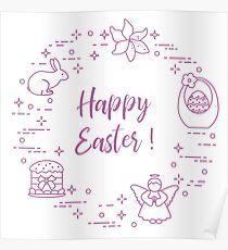 Easter cake, basket, eggs, rabbit, flowers, angel. Poster
