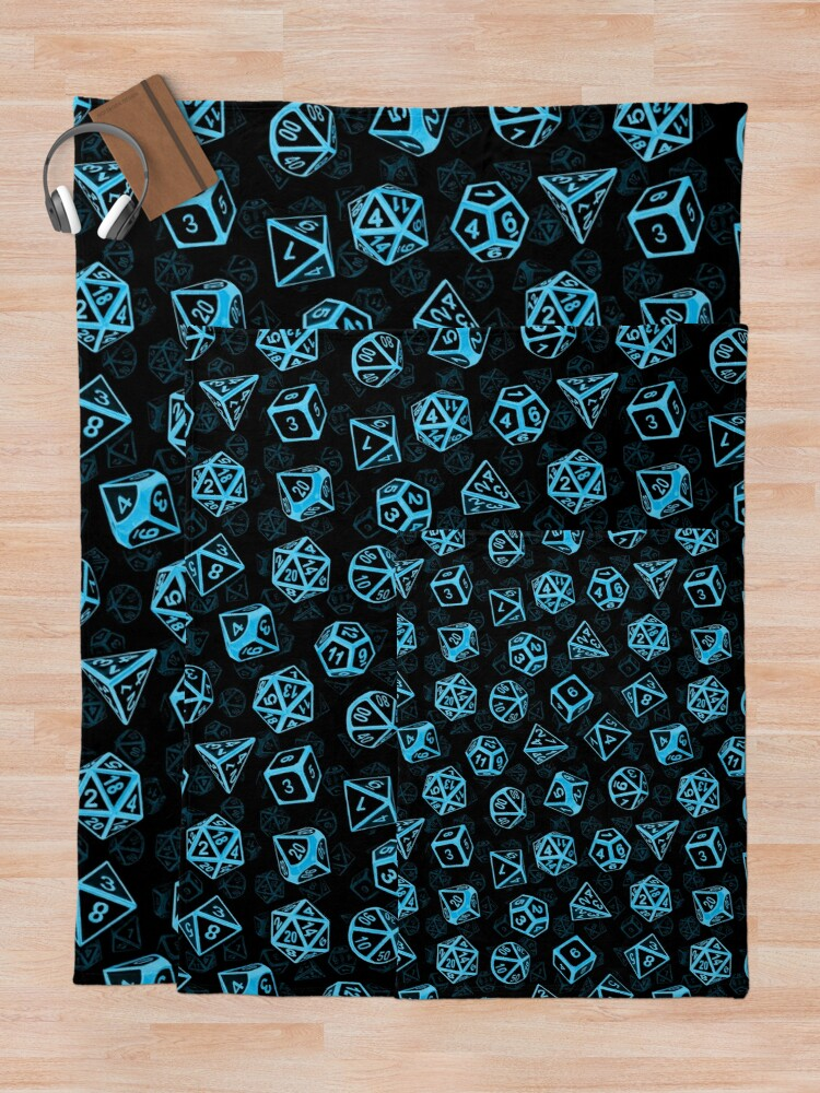 Alternate view of D20 Dice Set Pattern (Blue) Throw Blanket