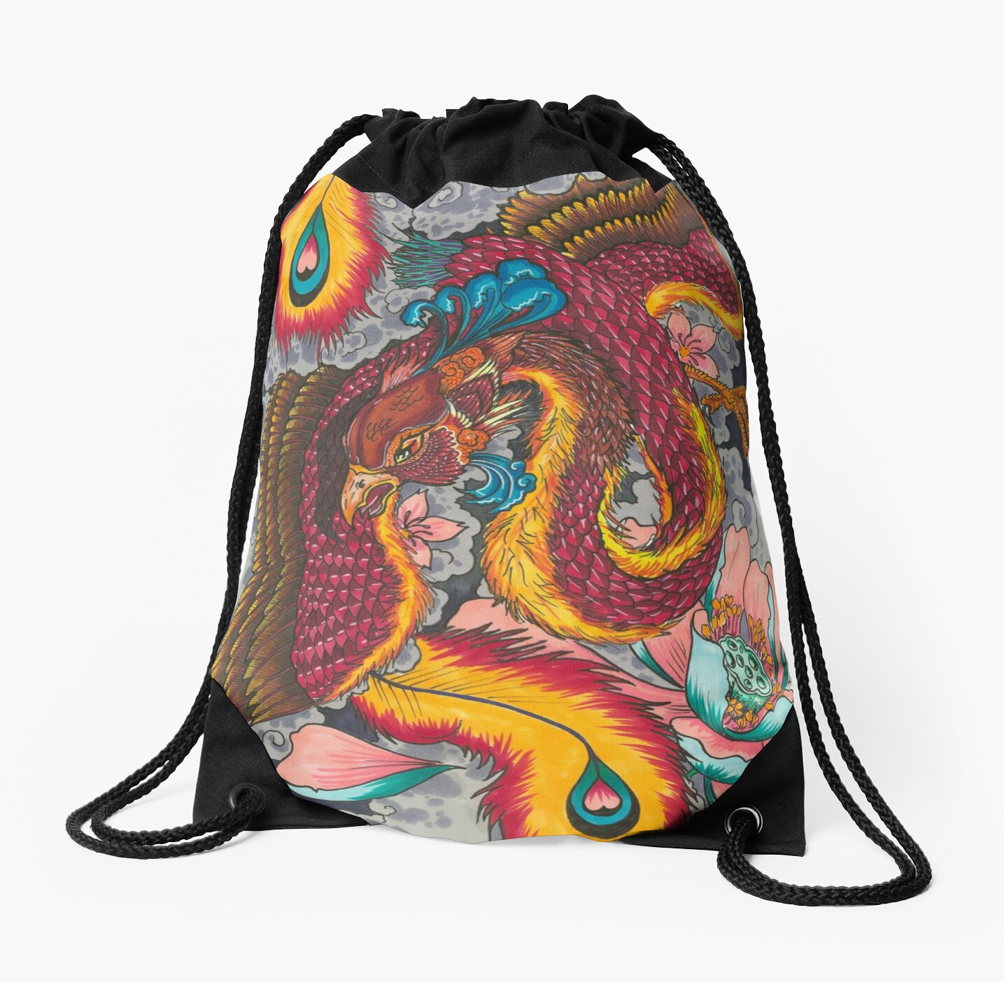 Japanese Style Phoenix Tattoo Design Drawstring Bags By Bigpete59