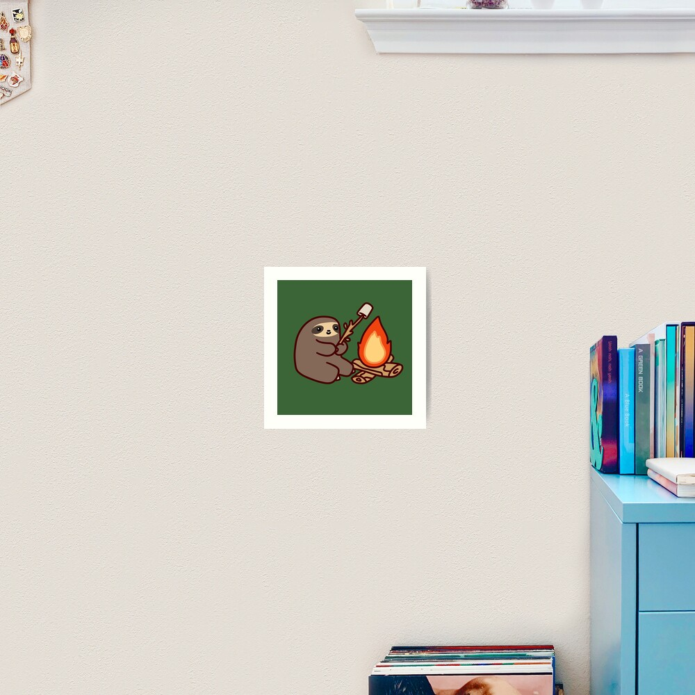 Campfire Sloth Art Print