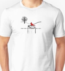 Country Cardinal Fencepost and Wire Unisex T-Shirt