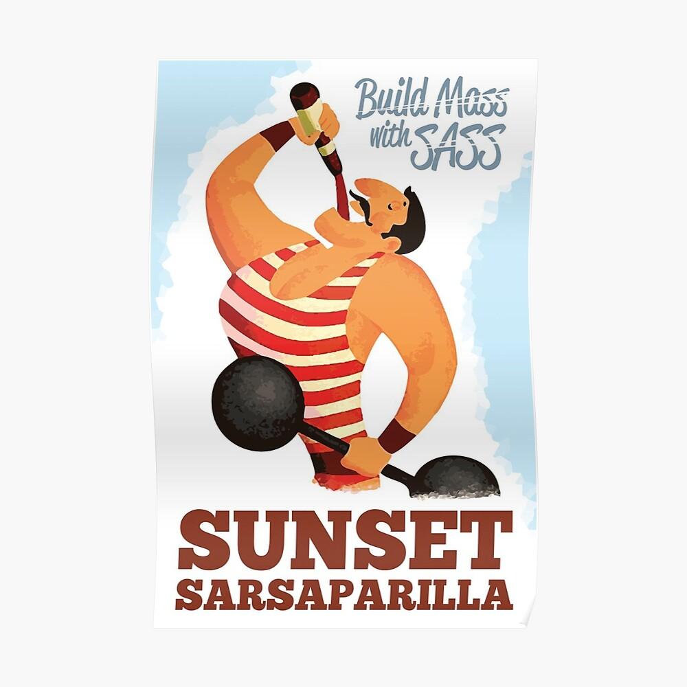 Build Mass mit Sass - Sonnenuntergang Sarsaparilla Poster (Fallout New Vegas) Poster