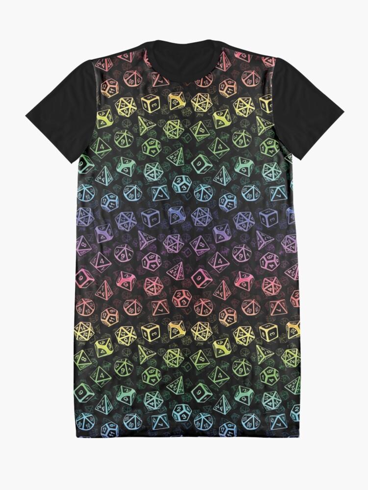 Alternate view of D20 Dice Set Pattern (Rainbow) Graphic T-Shirt Dress