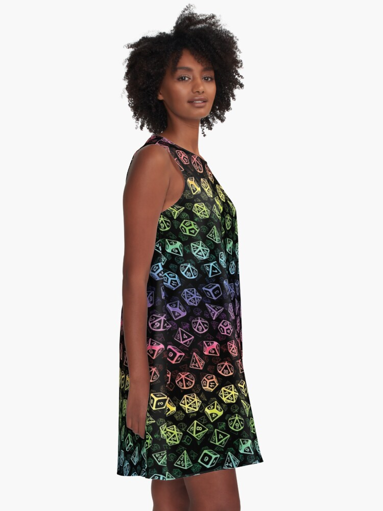 Alternate view of D20 Dice Set Pattern (Rainbow) A-Line Dress