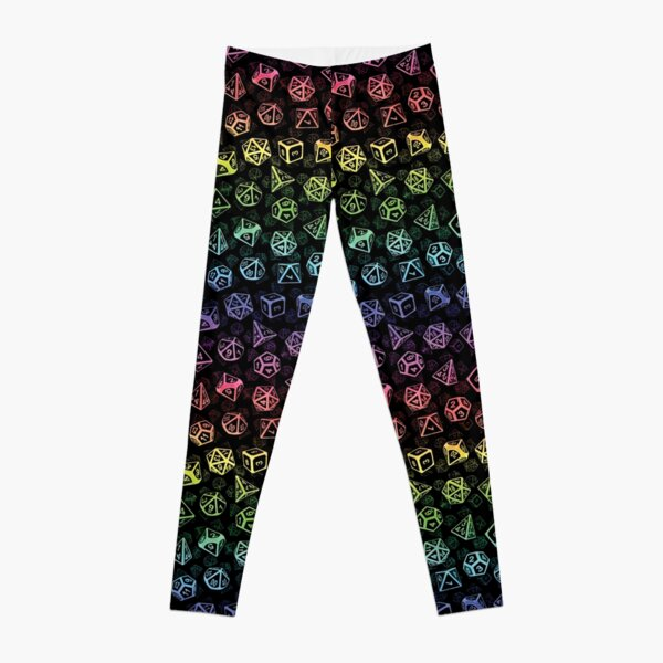 D20 Dice Set Pattern (Rainbow) Leggings