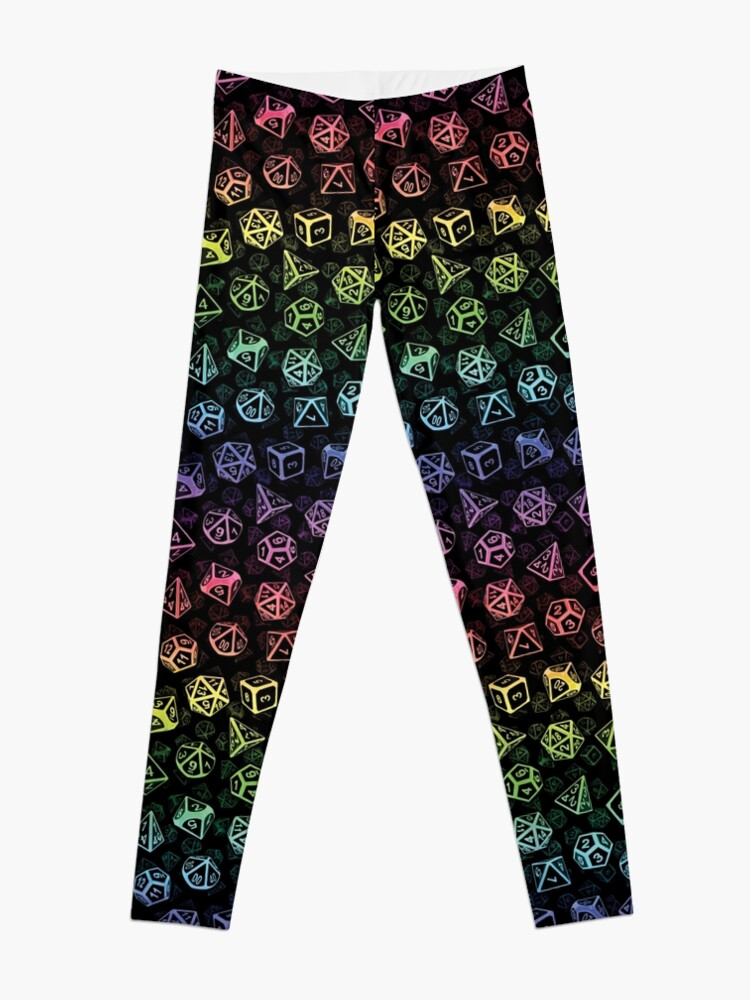 Alternate view of D20 Dice Set Pattern (Rainbow) Leggings