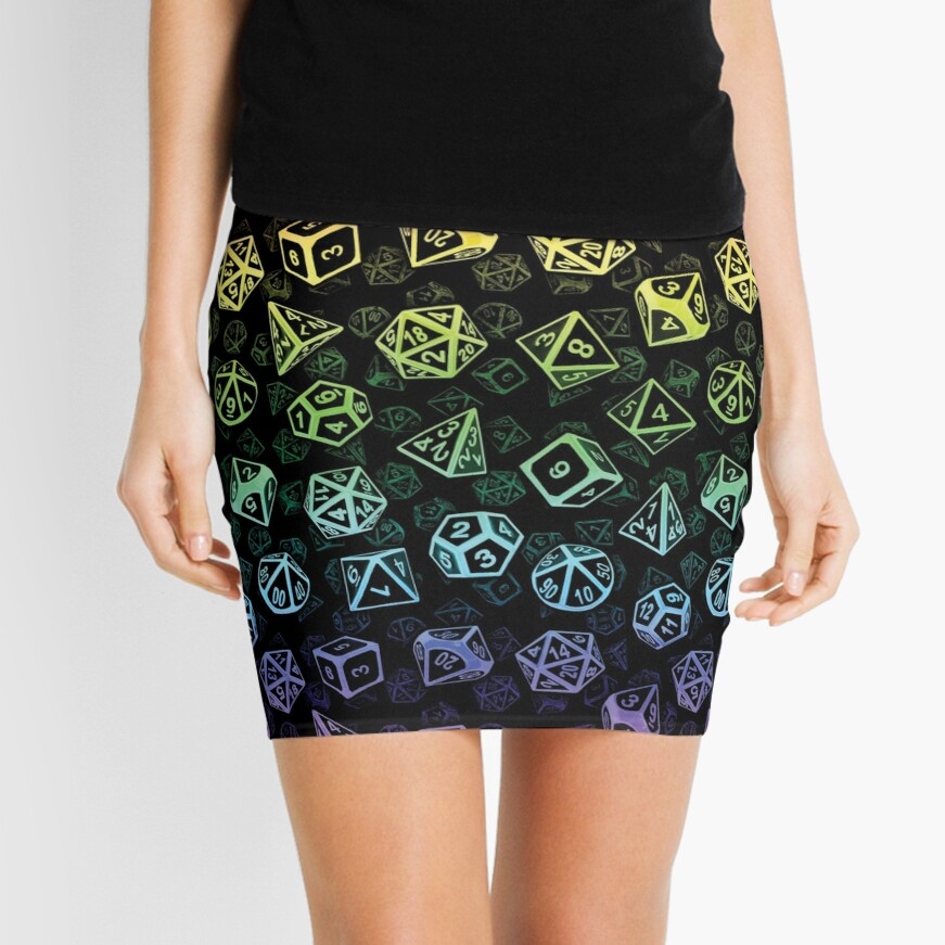 D20 Dice Set Pattern (Rainbow) Mini Skirt
