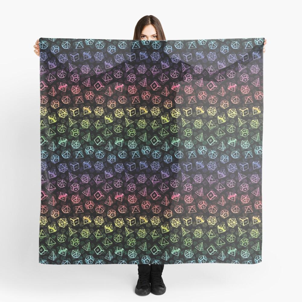 D20 Dice Set Pattern (Rainbow) Scarf