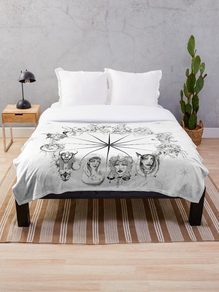 'Archetypes of Astrology Wheel ' Throw Blanket by Vixeno9